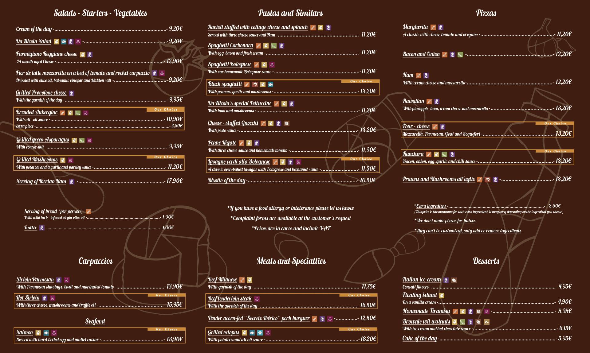 gluten menu