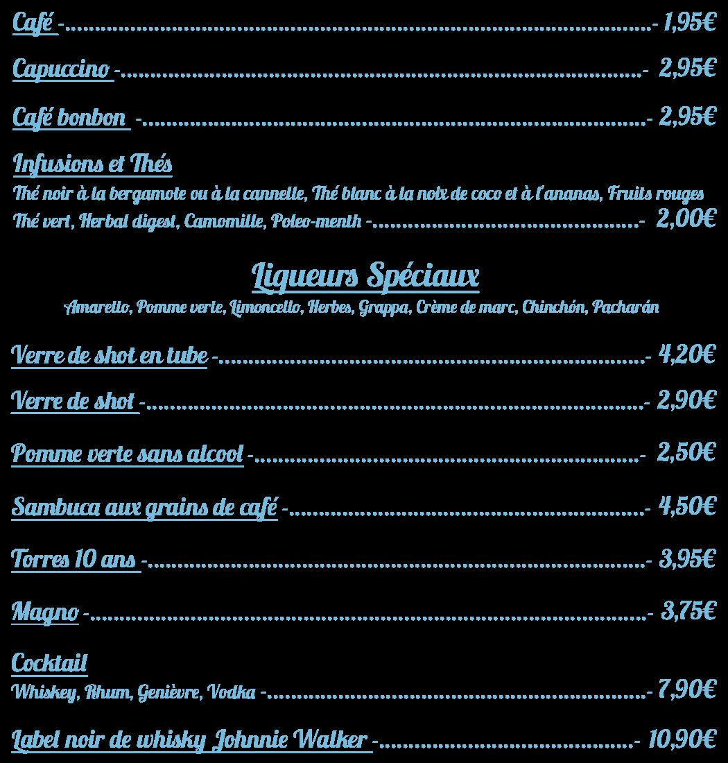 café menu sans gluten